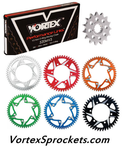 Yamaha WR450 sprockets by Vortex Racing